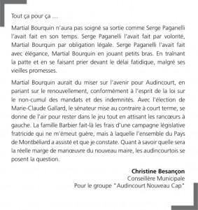 tribune octobre 2017 Christine Besançon